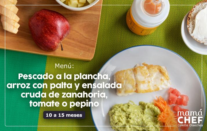 recetas para bebés Mamá Chef Colette Olaechea. Pescado blanco, arroz con palta y ensalada de zanahoria con tomate y aceite de oliva