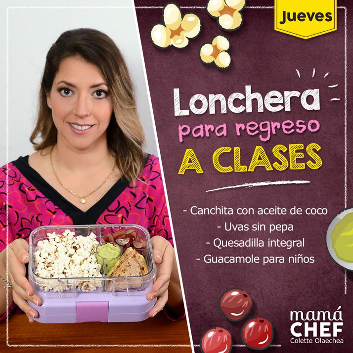 Canchita con aceite de coco, uvas sin pepa, quesadilla integral, guacamole para niños