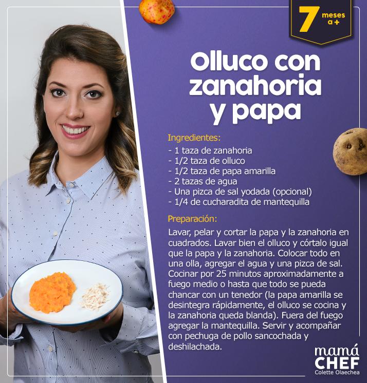 Papilla de olluco con zanahoria - Mamá Chef Colette Olaechea