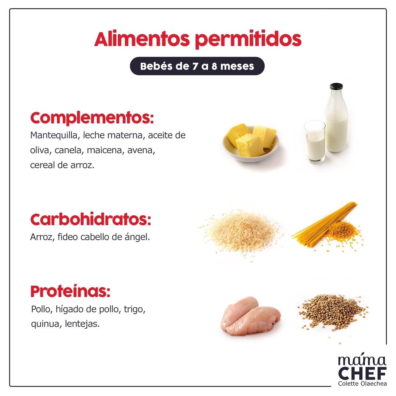 Alimentos permitidos  complementos Papillas papilla  bebes 7 meses Mama Chef Colette Olaechea