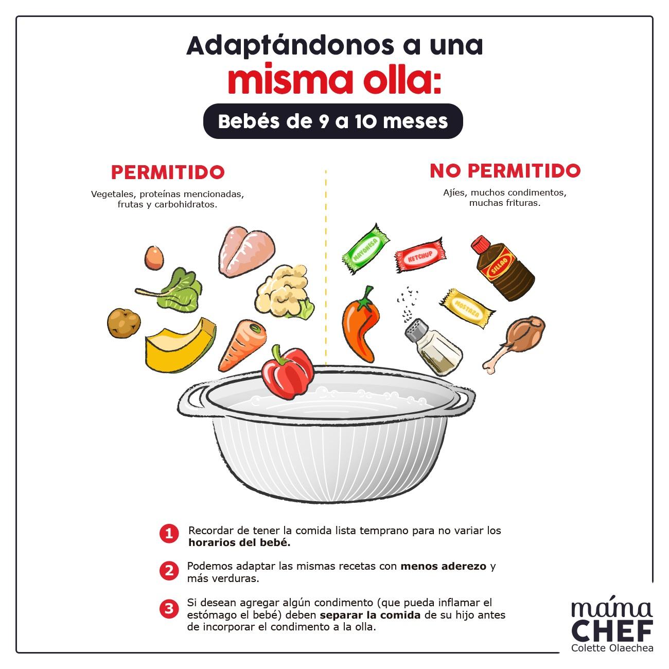 Alimentos permitidos y complementos 9 meses Mama Chef Colette Olaechea Info papillas