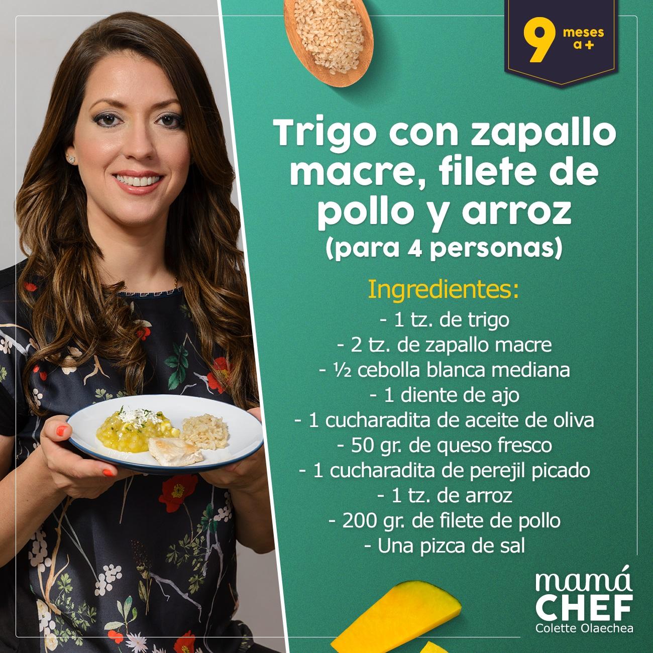 Papilla-de-trigo Mama Chef Colette Olaechea  papillas para bebes 9 meses