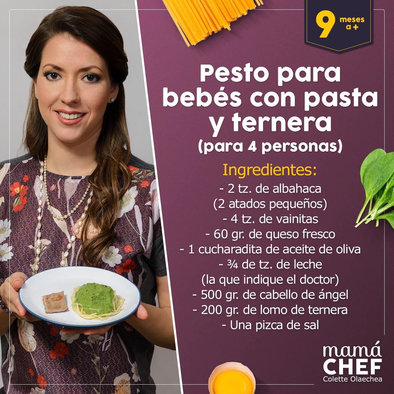 Pesto-con-ternera Mama Chef Colette Olaechea  papillas para bebes 9 meses