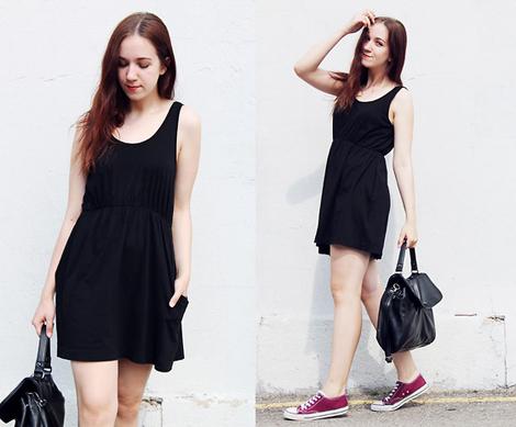 Como combinar un vestido negro sport