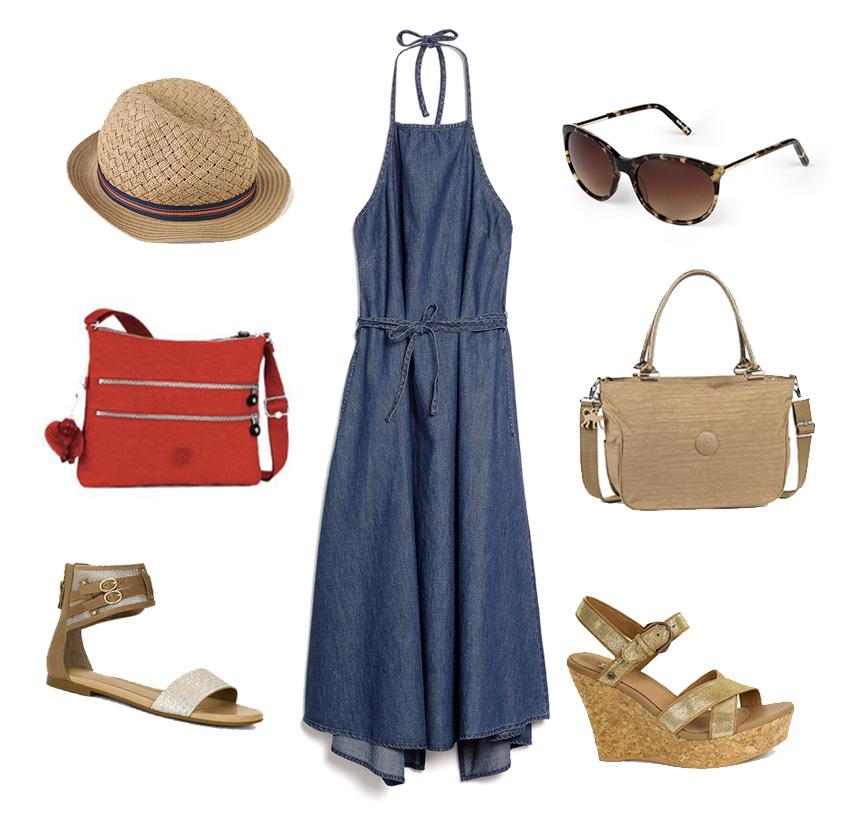 Este puede servir como para ir a la oficina. El vestido es debajo de las rodillas y todo depende con qué lo combines. (quizás dejemos el sombrero para el domingo).