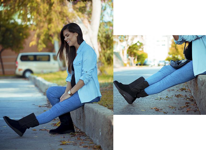 moda embarazadas jean y botines ugg