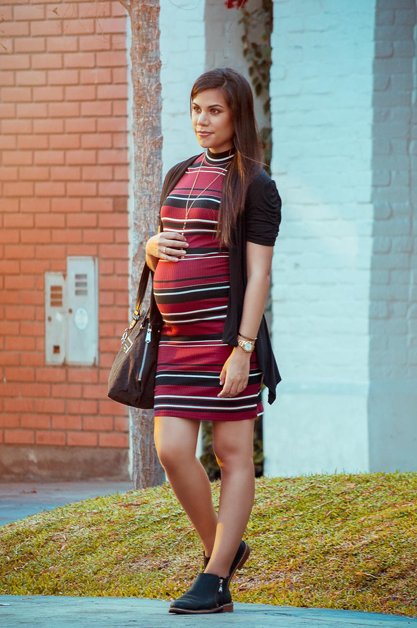moda embarazadas vestido y botines