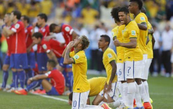 Los penales de Brasil y Chile desde un asiento del Mineirao
