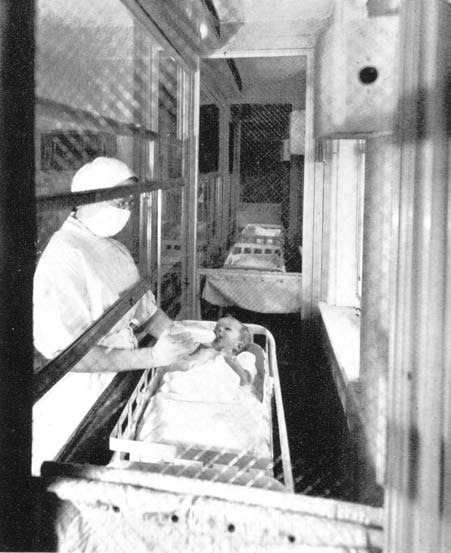 """Reyniers's Baby Cubicle. Source: I. Rosenstern and E. Kammerling, """"Air Conditioning, Ultra Violet Light, and Mechanical Barriers as Factors in the Prevention of Cross Infections in Nurseries,"""" in Micrurgical and Germ-Free Techniques: Their Application to Experimental Biology and Medicine, ed. James A. Reyniers (Springfield, Ill.: Charles C Thomas, 1943), 233-59, 241. Reprinted with permission."""