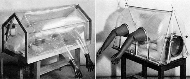 """Early Trexler isolator. Source: P. C. Trexler and L. I. Reynolds, """"Flexible Film Apparatus for the Rearing and Use of Germfree Animals,"""" Appl. Microbiol.5 (1957): 406-12, 407."""
