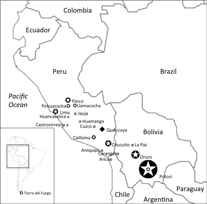 Localización de los principales centros metalúrgicos y del glaciar Quelccaya. Fuente: Uglietti, C et al. PNAS (2015)