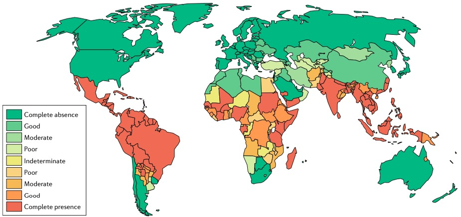 Riesgo de contrar dengue en el mundo. Fuente: Nature Reviews Microbiology 16, 508–518 (2018)