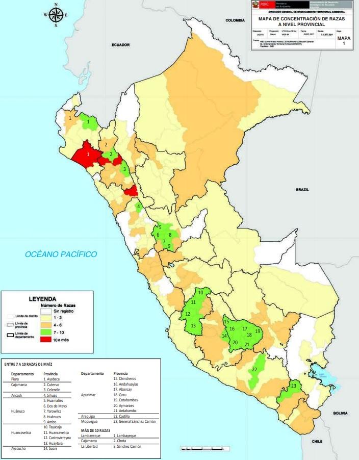 Mapa de distribución de razas de maíz a nivel provincial. Fuente: MINAM.