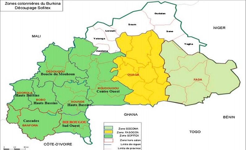 Distribución de las empresas algodoneras en Burkina Faso. Fuente: ResearchGate.