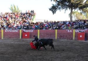 FOTO: PABLO JAVIER GÓMEZ DEBARBIERI SERNA. Pase de pecho del diestro español Emilio Serna al complicado quinto toro.