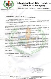 Ordenanza Machaguay Arequipa
