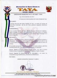 Ordenanza Taya Arequipa