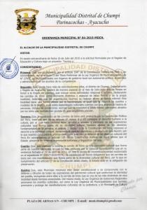 Resoluc Munic Chumpi Ayacucho pag 01