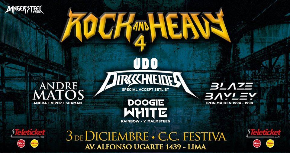Cuatro voces distintivas del heavy metal ortodoxo serán las que presente la nueva edición del Rock and Heavy 4, un buen cierre de año en eventos internacionales.