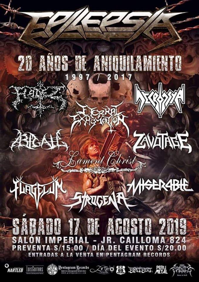 Epilepsia celebra sus 20 años de thrash metal desalmado al lado de compañeros antiguos y actuales de la escena local. Ocasión para ir a constatar el estado actual del metal peruano.