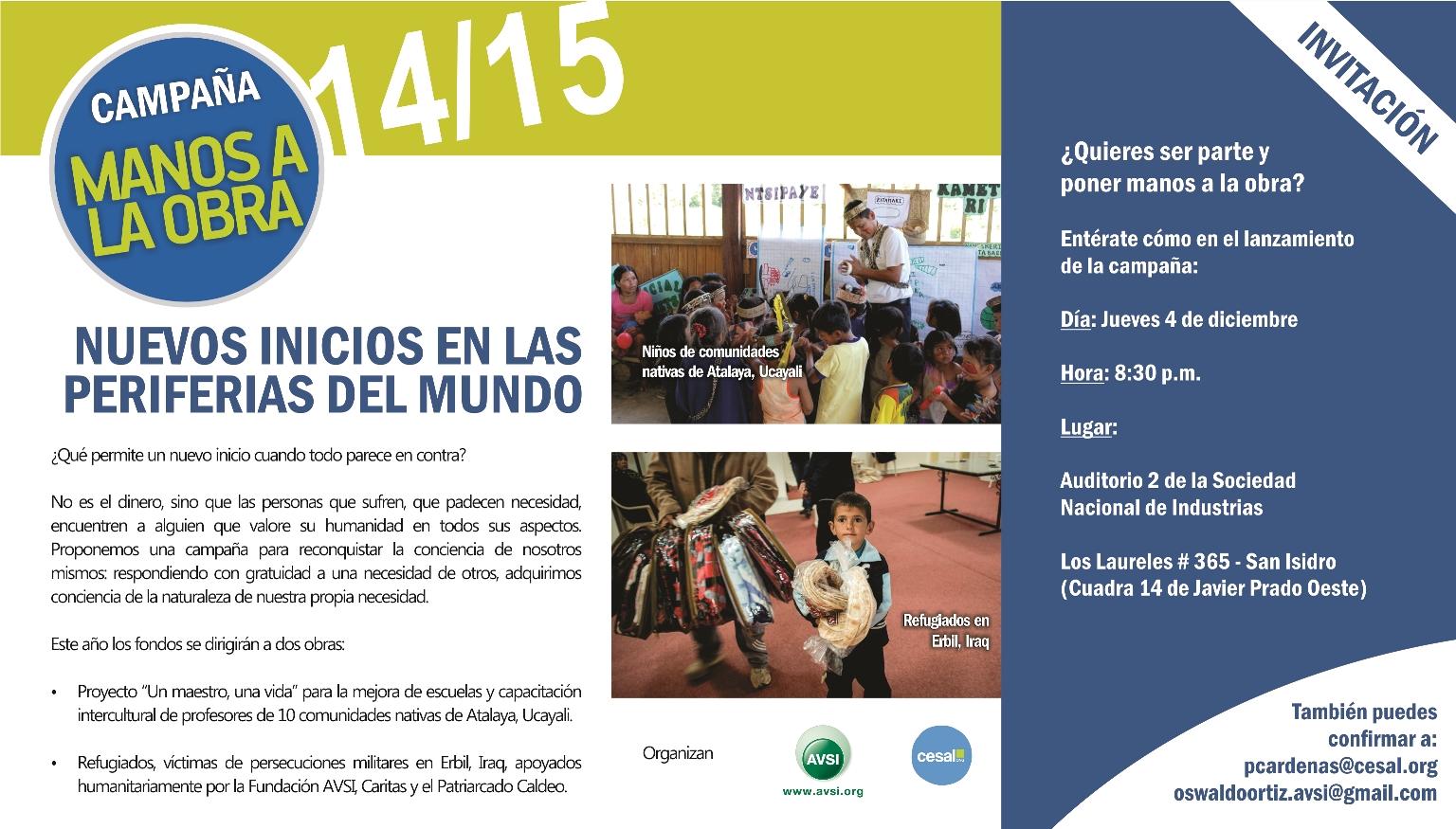 """Invitación a la campaña de la ONG CESAL y la Fundación AVSI: """"Manos a la Obra 2014 – 2015"""""""
