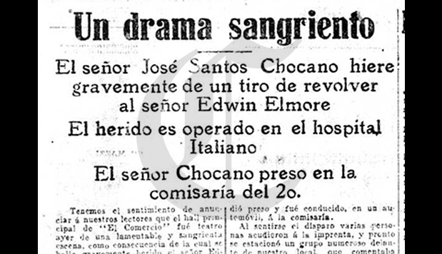 Poeta Chocano dispara a Elmore en El Comercio