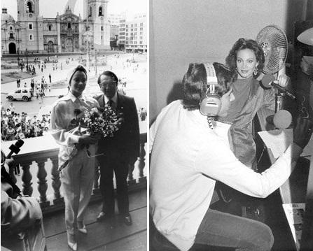 Izq: San Basilio y Barrantes en Lima, 1984 (Foto: El Comercio). Der: San Basilio en Radio Panamericana con el locutor Javier Lishner, 1983 (Foto: javierlishner.blogspot.fr)