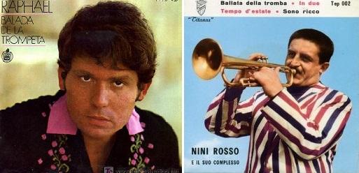 """Izq.: """"Balada de la trompeta"""", disco de Raphael (1970). Der.: """"Ballata della tromba"""", disco de Nini Rosso (1961)."""