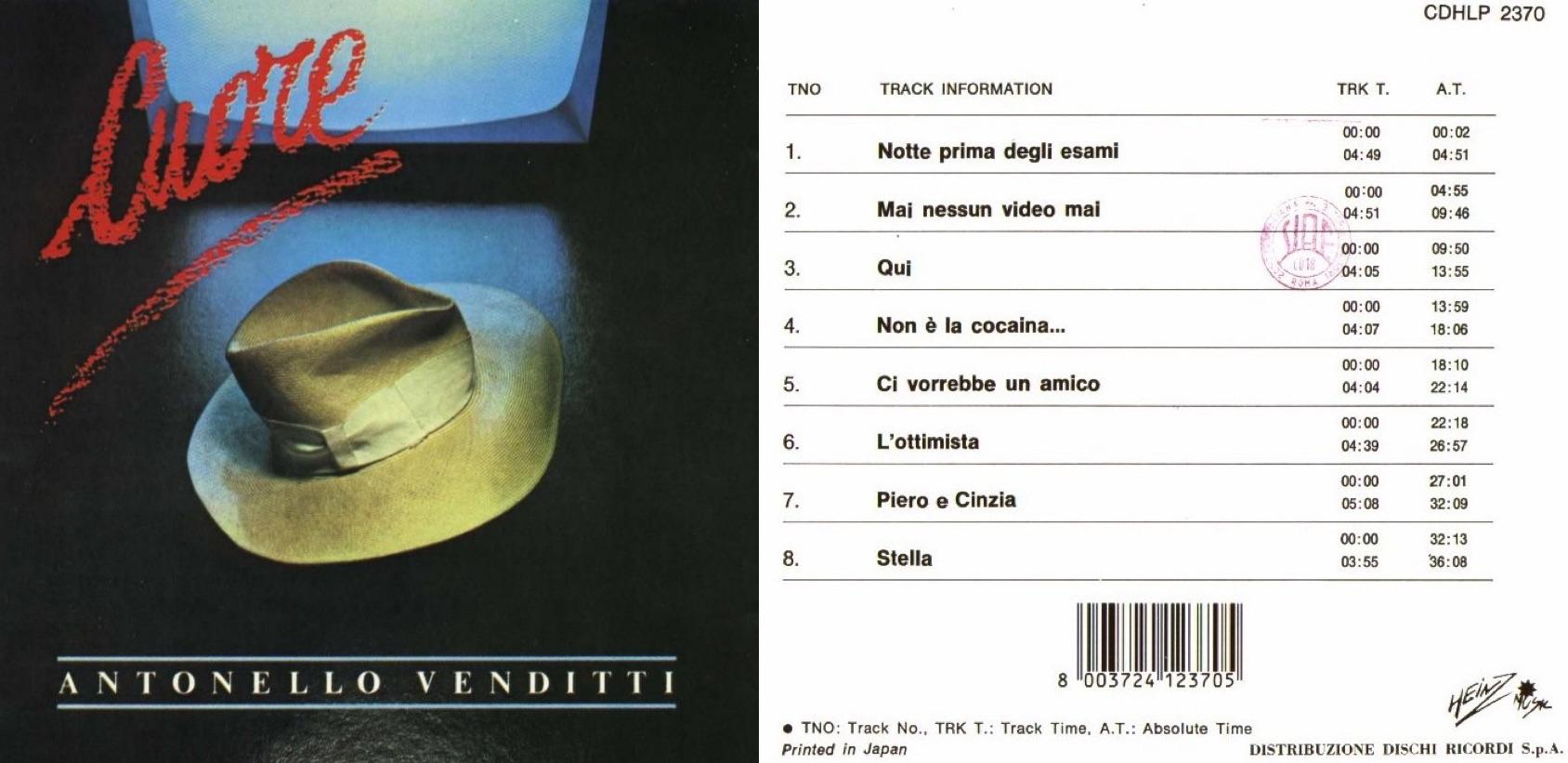 """""""Cuore"""", álbum de 1984 que incluyó """"Ci vorrebbe un amico""""."""