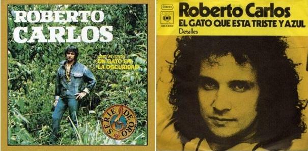 """Dos títulos, una misma canción: """"Un gato en la oscuridad"""" (izq.) y """"El gato que está triste y azul"""" (der.)"""