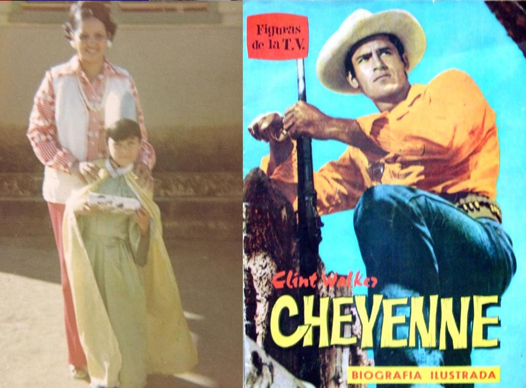 """A la izq.: Chayanne y su madre. A la der: La serie de TV """"Cheyenne""""."""
