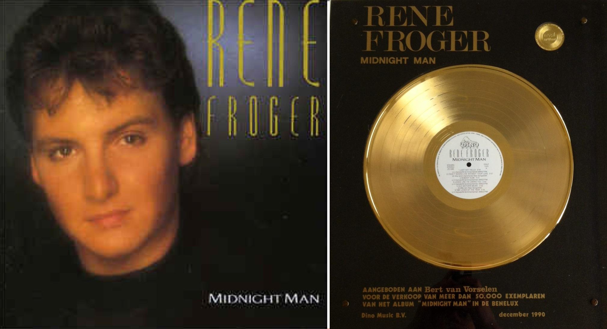 """A la izq.: """"Midnight Man"""", álbum de 1990 que incluyó """"Nobody else"""". A la der.: El disco de oro que ganó."""