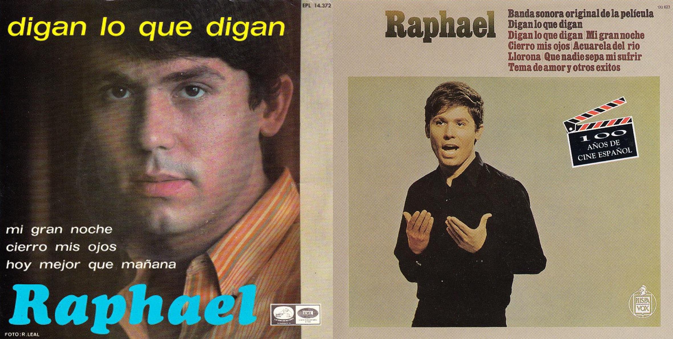 """""""Mi gran noche"""" apareció en un disco EP de 1967 (izq.) y en la banda sonora del filme """"Digan lo que digan"""" de 1968 (der.)."""