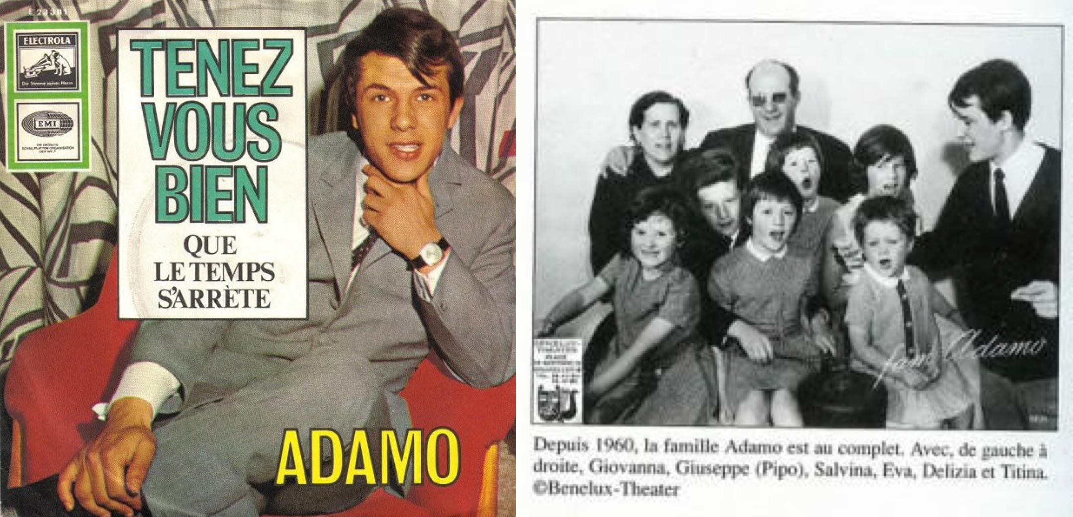 """Izq.: """"Tenez-vous bien"""" en disco sencillo de 1966. Der.: Adamo con sus padres y sus 6 hermanos."""
