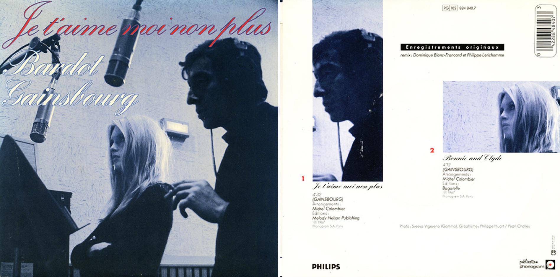 Disco con la versión de Brigitte Bardot, lanzado recién en 1986.