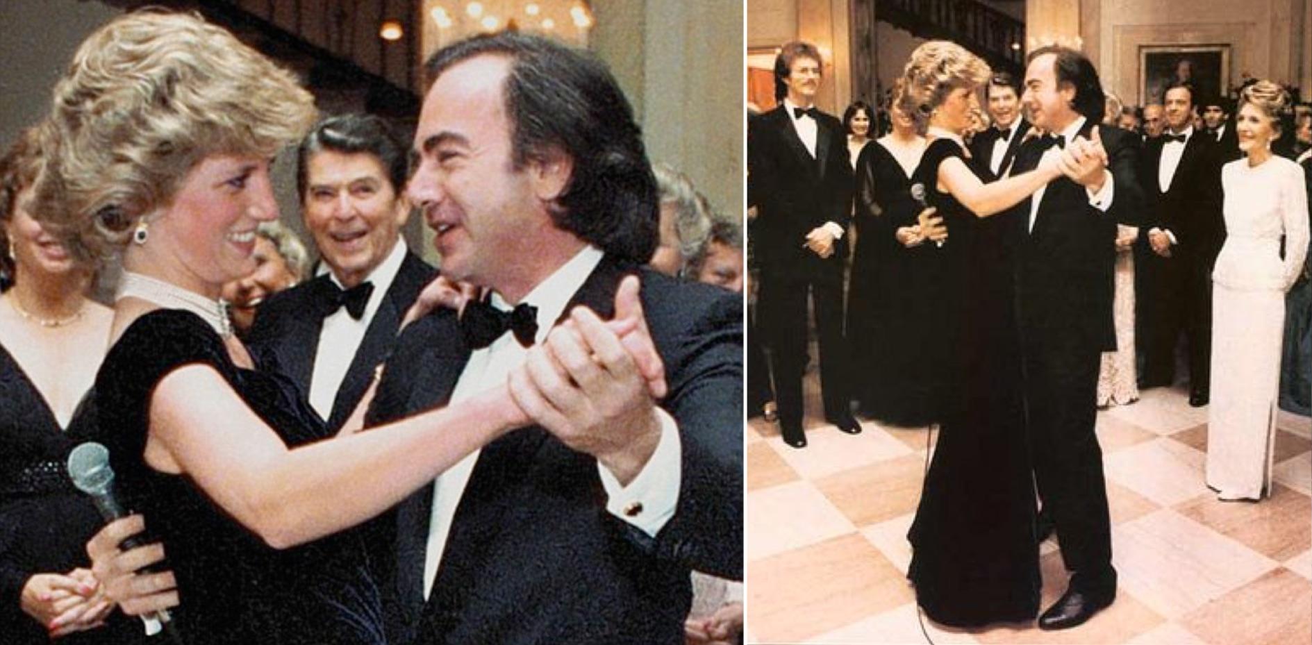 Diana de Gales y Neil Diamond. Al fondo: Ronald Reagan. (Fotos: Daily Mail y Flickr.com)