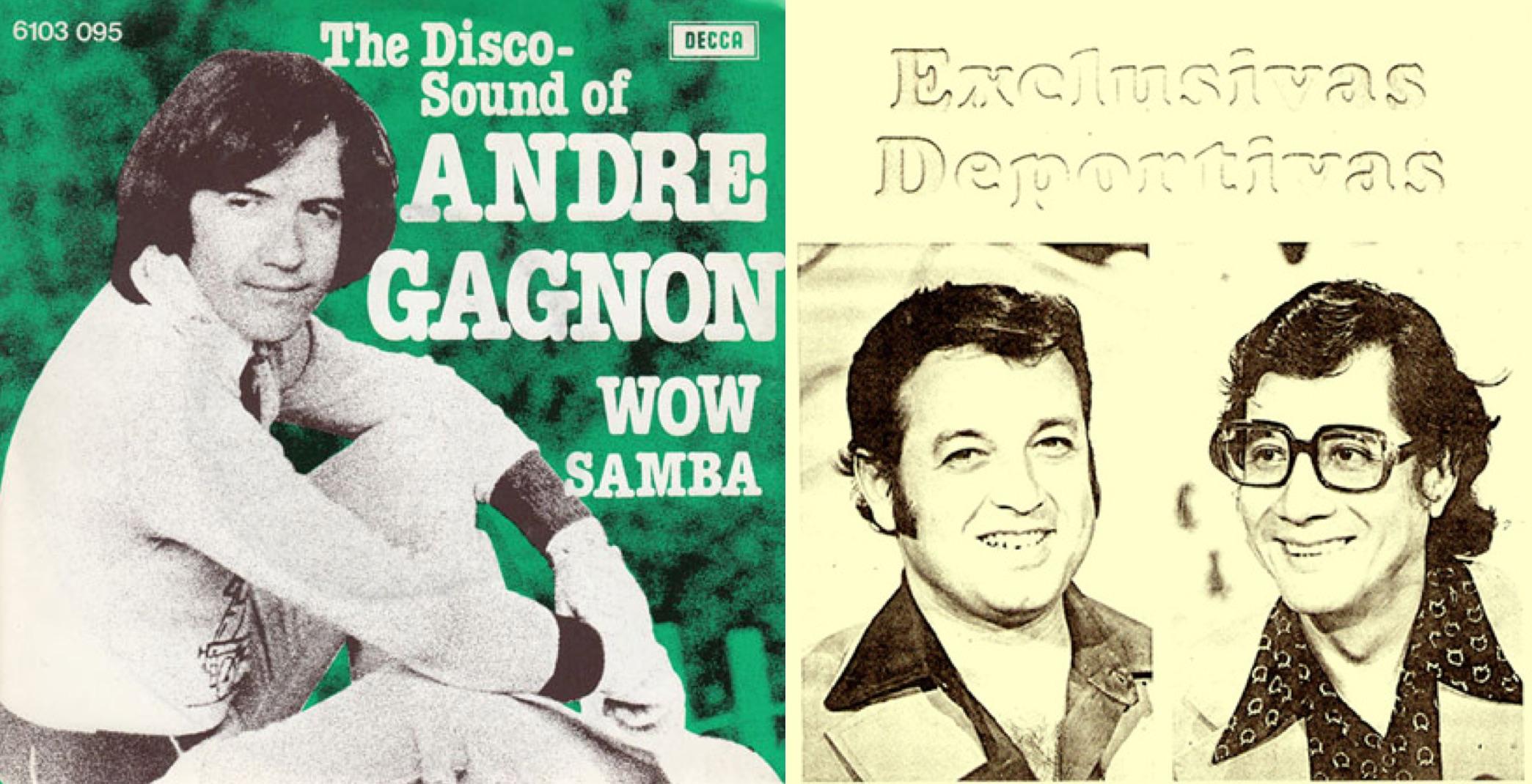 """Izq: Disco sencillo de """"Wow"""" y """"Ta Samba"""". Der: Luis Ángel Pinasco y Roberto Salinas."""