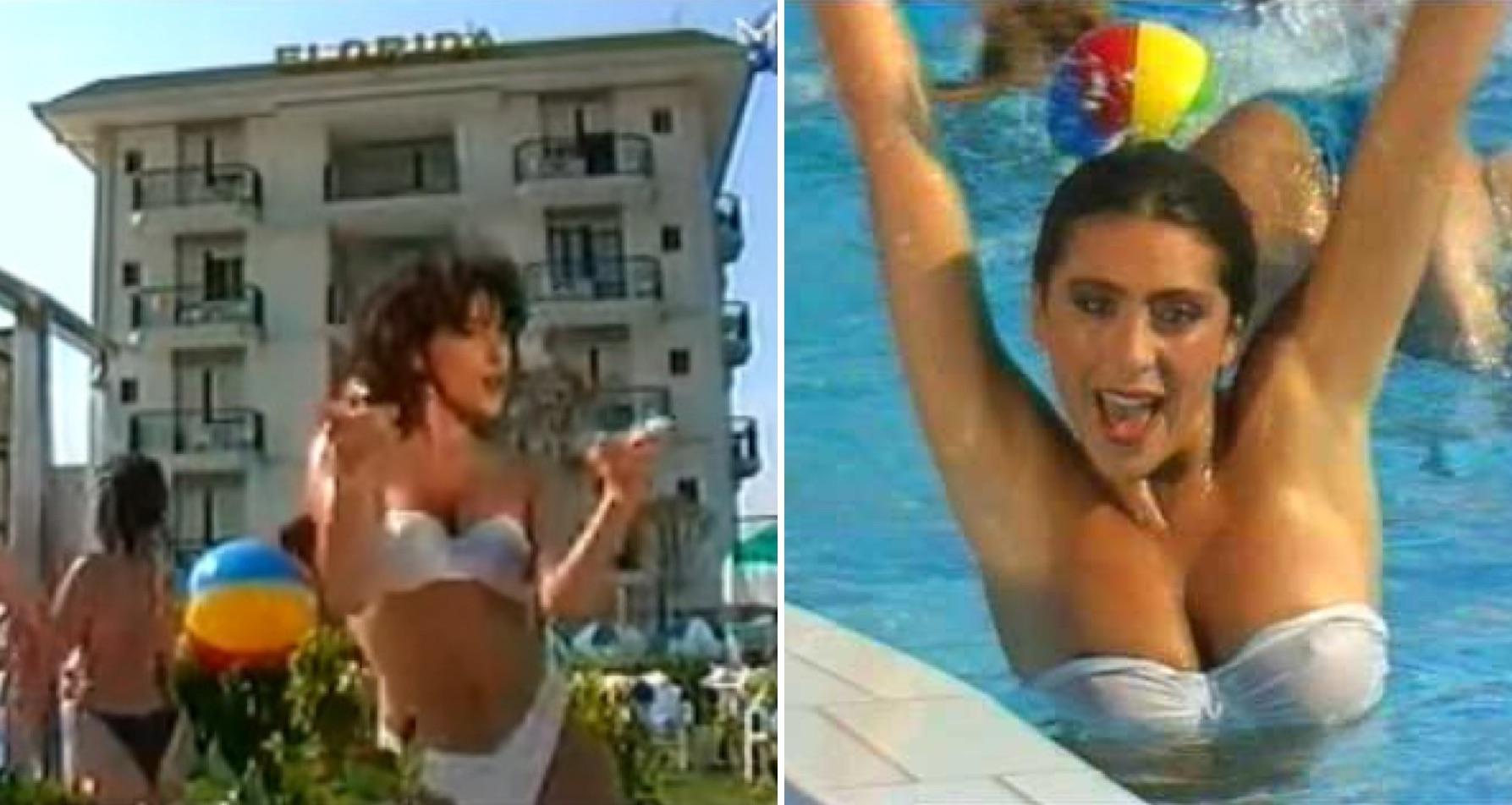 Izq: Sabrina y el Hotel Florida de fondo. Der: En la recordada piscina.