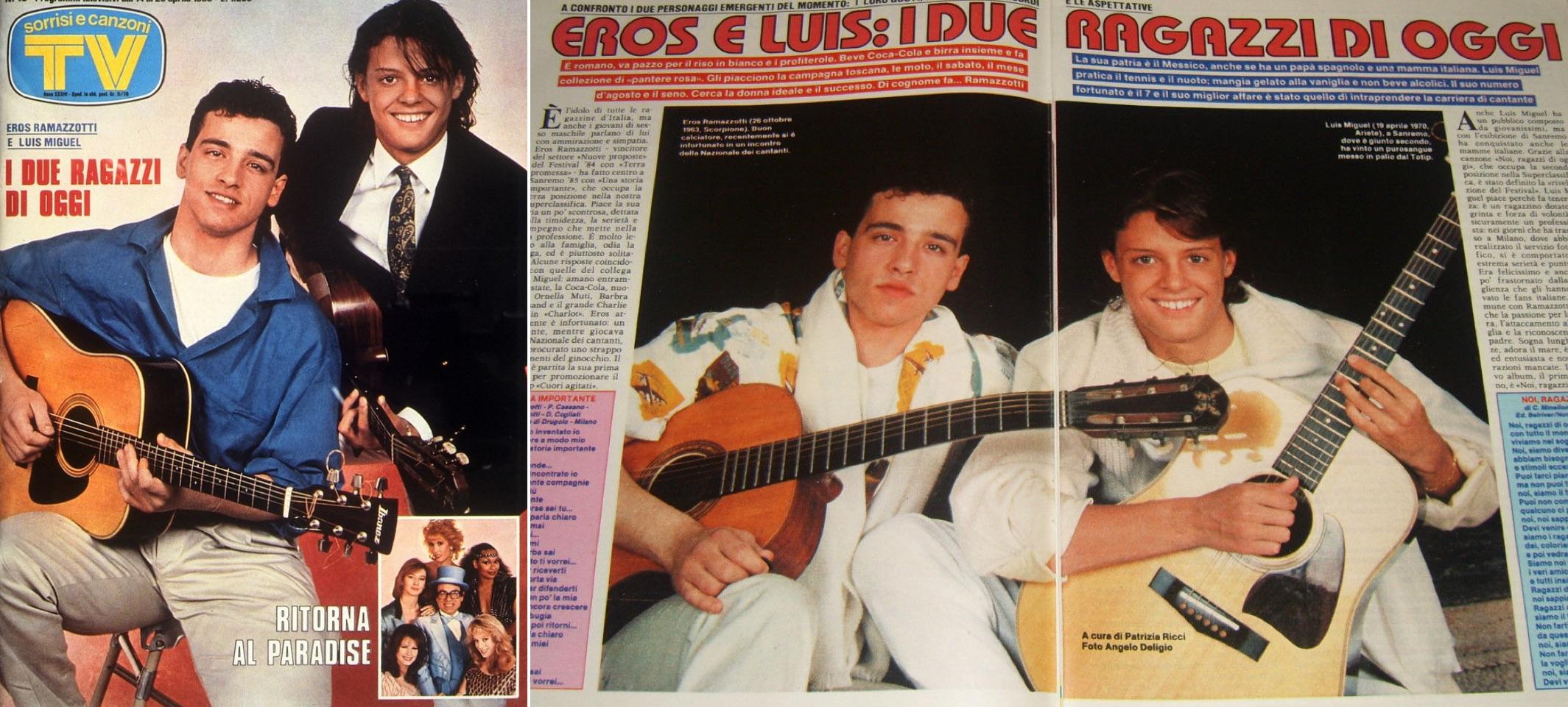 """Luis Miguel y Eros Ramazzotti en la revista """"TV Sorrisi e Canzoni"""". El titular dice: """"Los dos muchachos de hoy"""". (LuisMiguelSite.com)"""