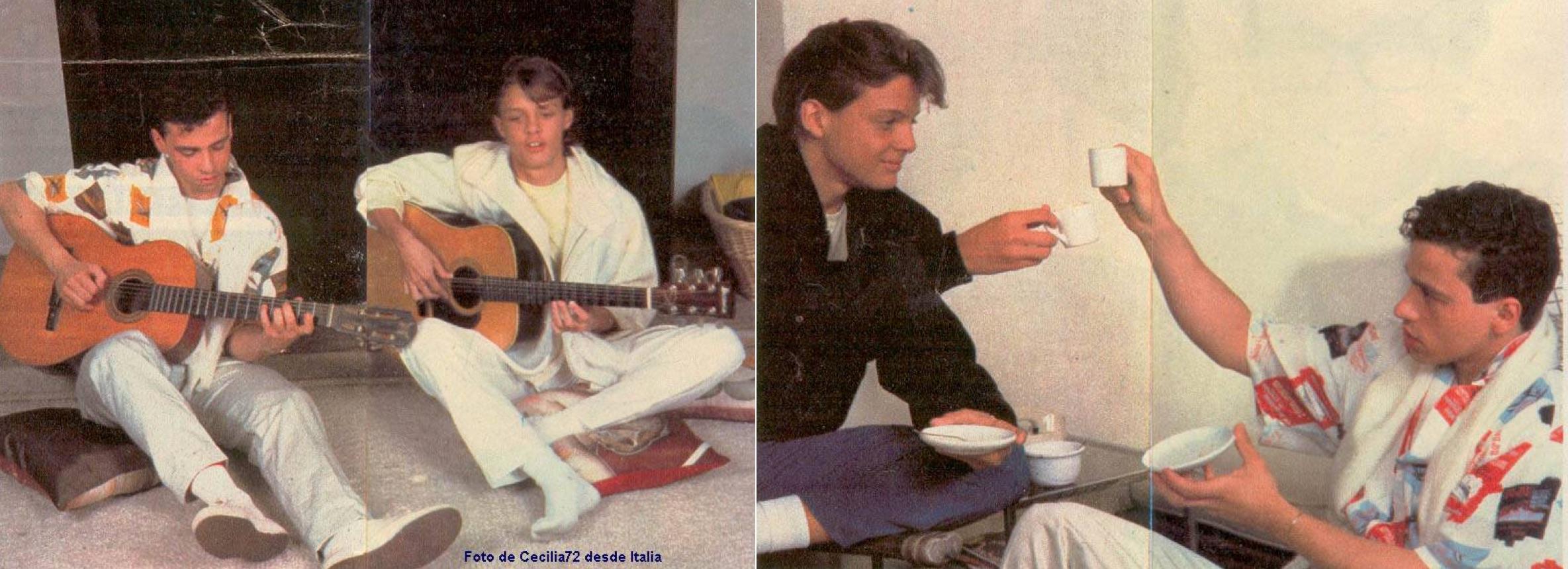 Luis Miguel y Eros Ramazzotti tocan la guitarra y beben café. (Revista TV Sorrisi e Canzoni, LuisMiguelSite.com)