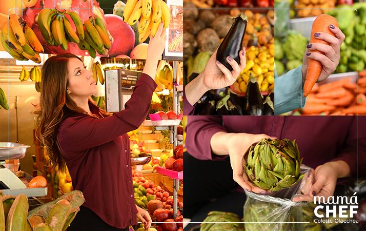 Mamá Chef Colette Olaechea comprando frutas y verduras. Frutería Ortiz puesto 30-31 Mercado de Productores de San Isidro.