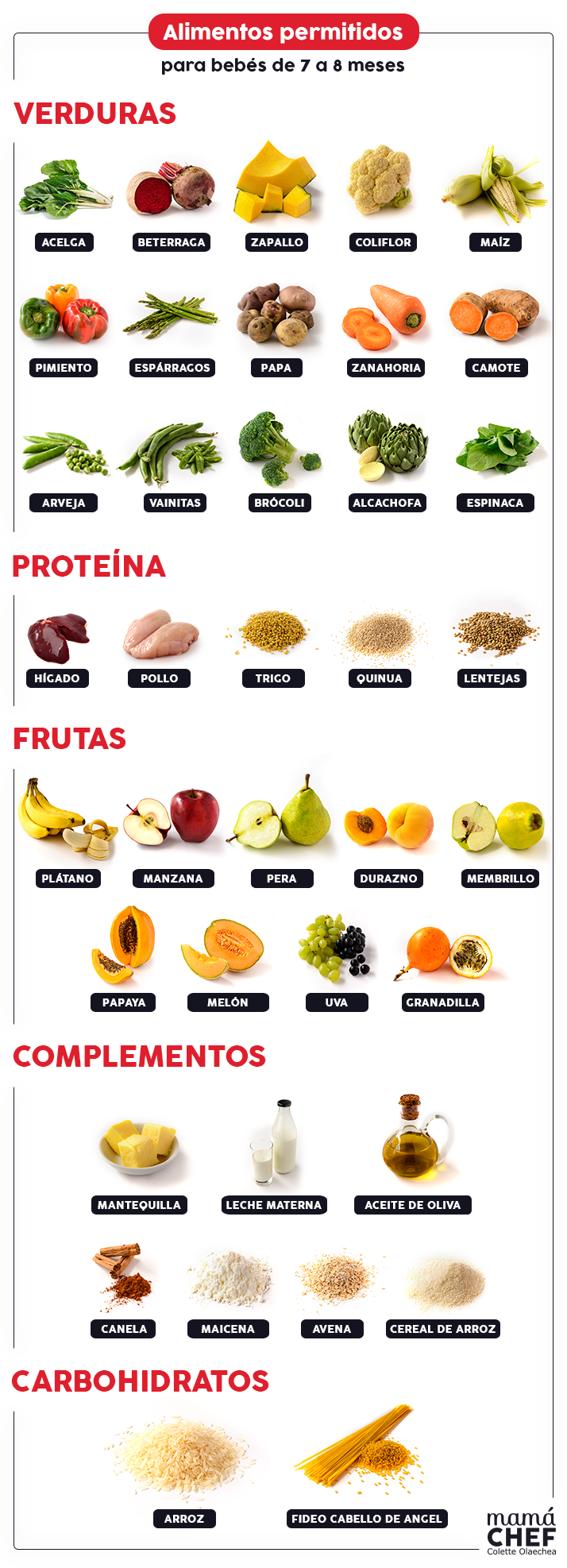 Alimentos para bebés de 7 a 8 meses