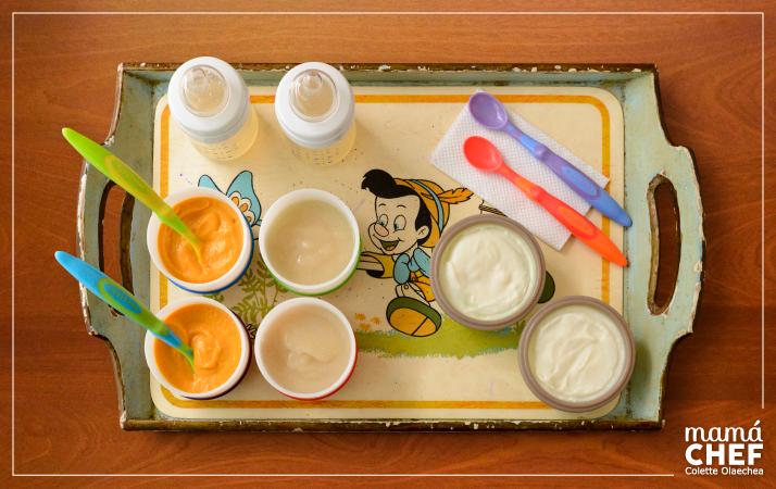 Primer menú: papilla de camote, compota de pera, cereal de arroz y agua de pera.