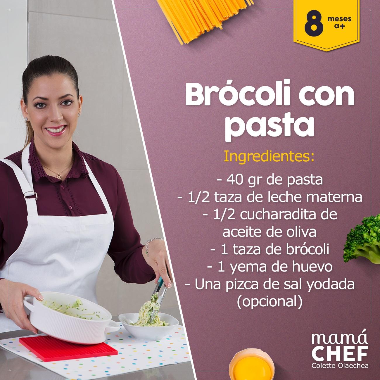 Brocoli con pasta mamá chef colette olaechea  papillas bebes 8 meses recetas