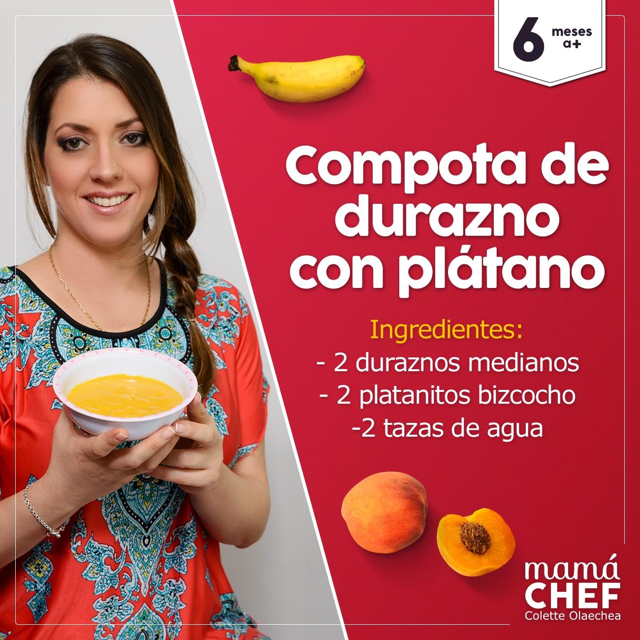 Papillas compata durazno bebes 6 meses Mama Chef Colette Olaechea