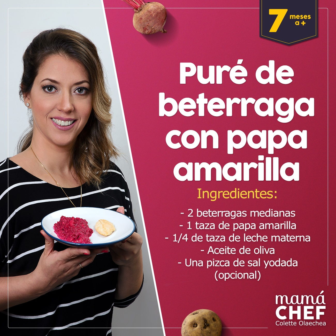 Puré beterraga Papillas papilla  bebes 7 meses Mama Chef Colette Olaechea