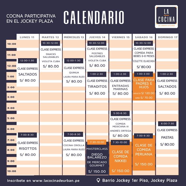 calendario la cocina de urban kitchen - mama chef - colette olaechea