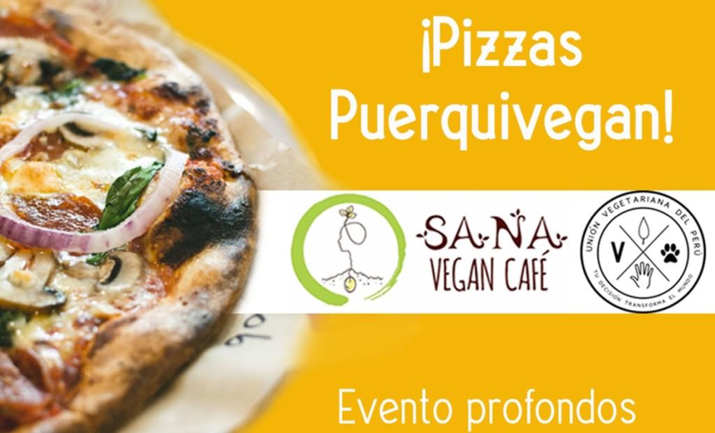 El evento de Unión Vegetariana del Perú y Sana Vegan Café se realizará el domingo 10 de febrero. El almuerzo tiene como fondo una deliciosa pizza