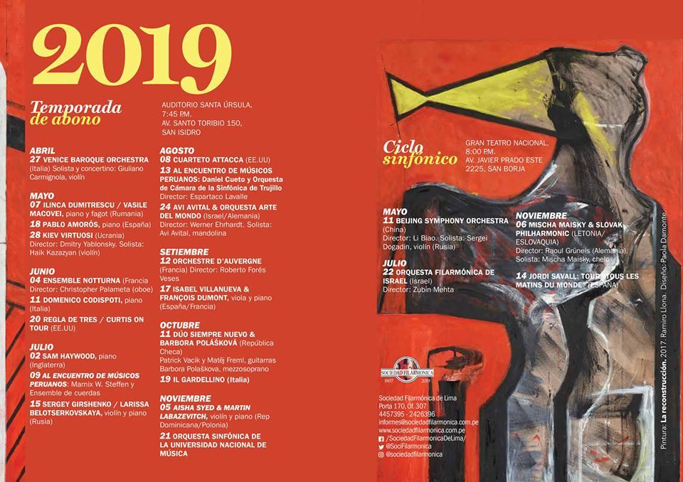 La Sociedad Filarmónica de Lima SFL celebrará sus 112 años de creación con una temporada ambiciosa en la que presentará estrellas de la talla de Avi Avital, la Orquesta Barroca de Venecia, Mischa Maisky con la Filarmónica eslovaka, Jordi Savall y la Orquesta Filarmónica de Israel dirigida por Zubin Mehta, quien realiza su gira mundial de despedida de los escenarios.