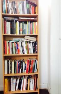 Este es el único estante que me queda, mis otros libros ya están en cajas.